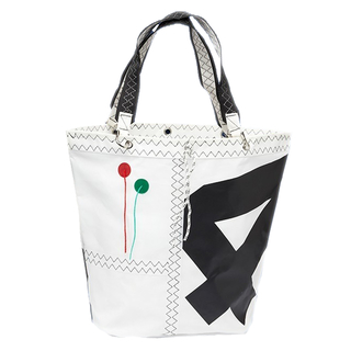 Sea Girl shopping bag, white / black made of canvas, shopping bag