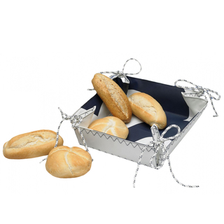 Canvas bread basket white / navy blue boat, camping, home