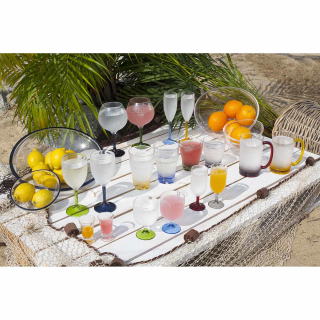 Sektglas Champagne colours base Set 6 Stück, unzerbrechlich, transparent, farbig, Marine Business