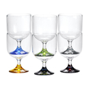 Water wine glass stackable color base set 6 pieces,...