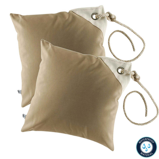 Two water-repellent brown cushions from Marine Business, with filling