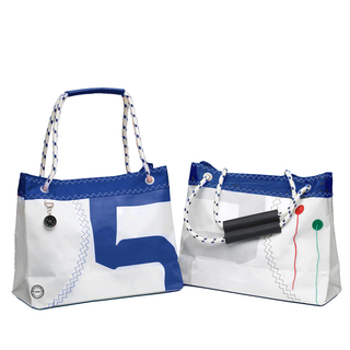 Sea Wave shopping bag with dew handle, white / navy blue made of canvas, shopping bag