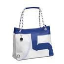 Sea Wave shopping bag with dew handle, white / navy blue...