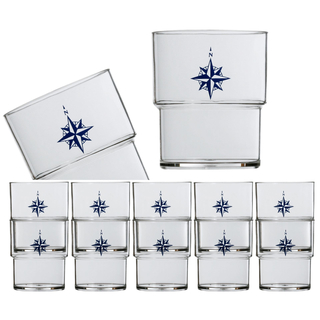 Water glass set 12 pieces, stackable, unbreakable, Northwind Marine Business
