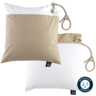 Two water-repellent cushions beige / white by Marine Business, with filling