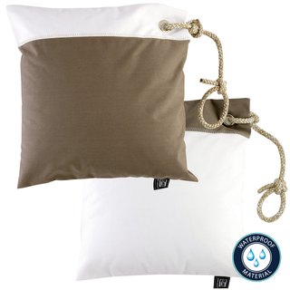 Two water-repellent cushions brown / white by Marine Business, with filling