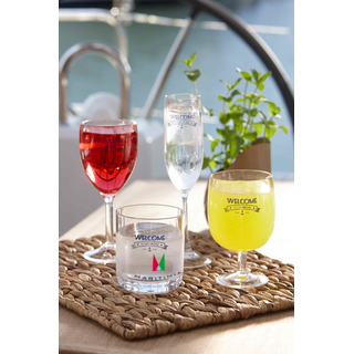 Water and wine glass party - Welcome, set 6 pieces, stackable, unbreakable, polycarbonate