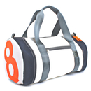 Travel bag recycled canvas pirate white figure orange...