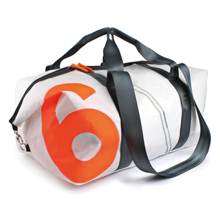 Travel bag recycled canvas cutter XL white gray orange from 360 degrees
