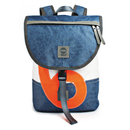 Rucksack Landgang Mini Navy Weiss, recyceltes Segeltuch,...