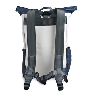 Backpack recycled canvas Pilot Navy White padded laptop compartment of 360 degrees