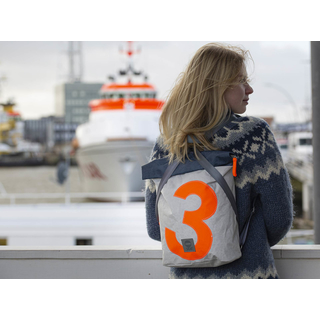 Backpack seagull recycled canvas white orange navy from 360 degrees