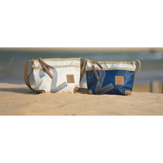Deern Lütt shoulder bag, recycled canvas, blue white gray from 360 degrees