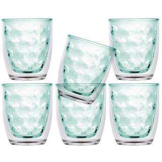 Isothermic water glass set 6 pieces, unbreakable - Harmony Moon Acqua - Marine Business