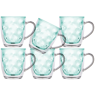 Isothermic Kaffe Mug tea glass, set 6 pieces, unbreakable - Harmony Moon Acqua - Marine Business